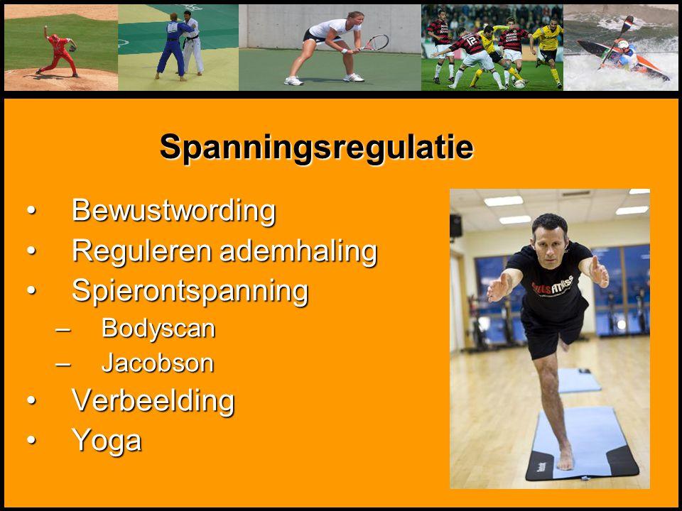 Mentale Sportbegeleiding BewustwordingBewustwording Reguleren ademhalingReguleren ademhaling SpierontspanningSpierontspanning –Bodyscan –Jacobson Verb