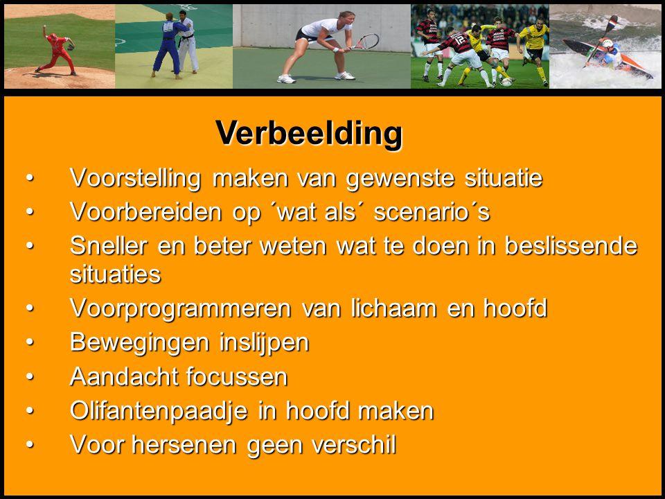 Mentale Sportbegeleiding Voorstelling maken van gewenste situatieVoorstelling maken van gewenste situatie Voorbereiden op ´wat als´ scenario´sVoorbere