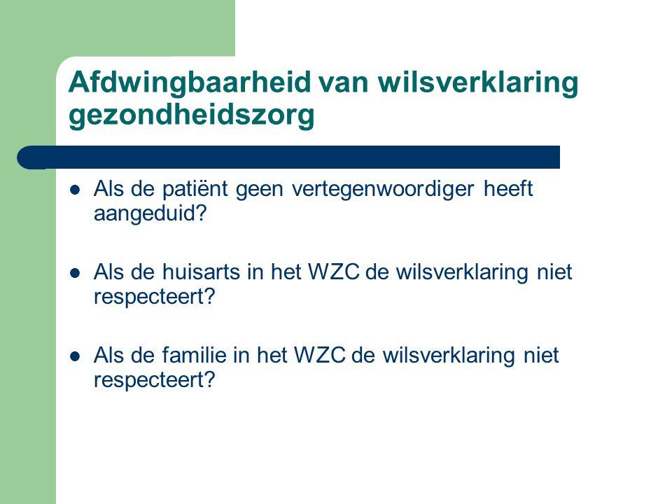 Afdwingbaarheid van wilsverklaring gezondheidszorg Als de patiënt geen vertegenwoordiger heeft aangeduid? Als de huisarts in het WZC de wilsverklaring