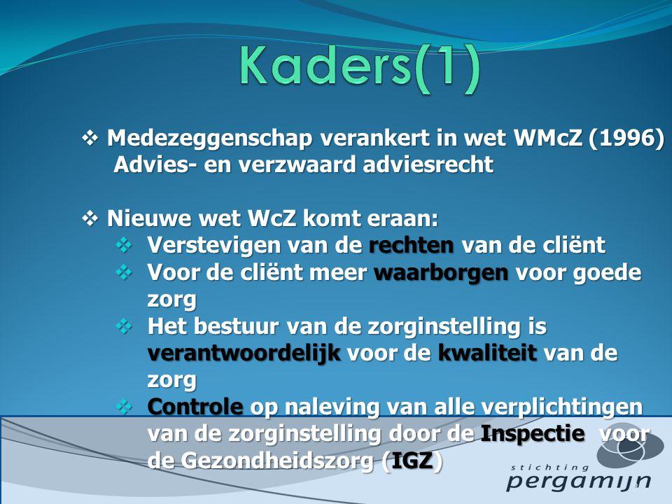  Medezeggenschap verankert in wet WMcZ (1996) Advies- en verzwaard adviesrecht  Nieuwe wet WcZ komt eraan:  Verstevigen van de rechten van de cliënt  Voor de cliënt meer waarborgen voor goede zorg  Het bestuur van de zorginstelling is verantwoordelijk voor de kwaliteit van de zorg  Controle op naleving van alle verplichtingen van de zorginstelling door de Inspectie voor de Gezondheidszorg (IGZ) 3
