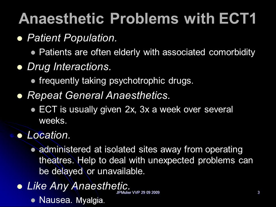 JPMulier VVP 29 09 20093 Anaesthetic Problems with ECT1 Patient Population.
