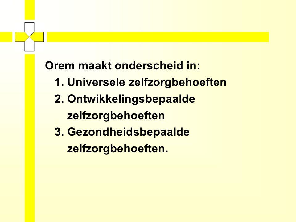 Orem maakt onderscheid in: 1.Universele zelfzorgbehoeften 2.