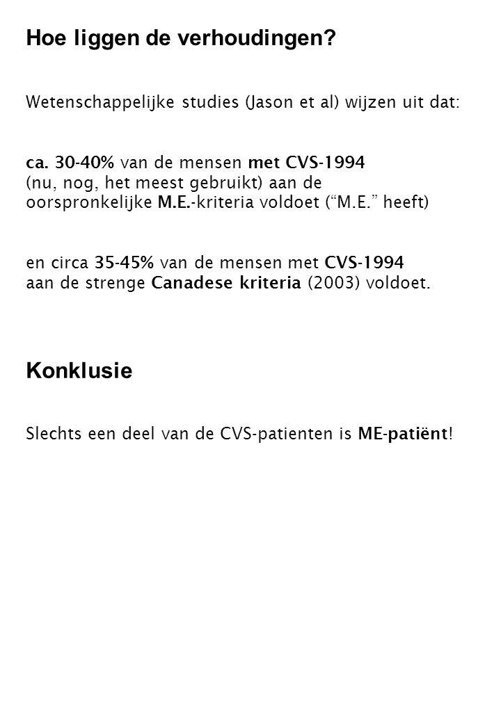 Wetenschappelijke studies (Jason et al) wijzen uit dat: ca. 30-40% van de mensen met CVS-1994 (nu, nog, het meest gebruikt) aan de oorspronkelijke M.E