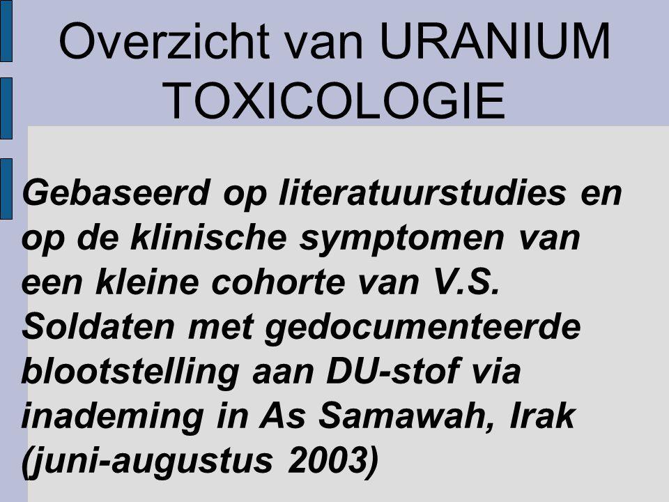 Overzicht van URANIUM TOXICOLOGIE Gebaseerd op literatuurstudies en op de klinische symptomen van een kleine cohorte van V.S.