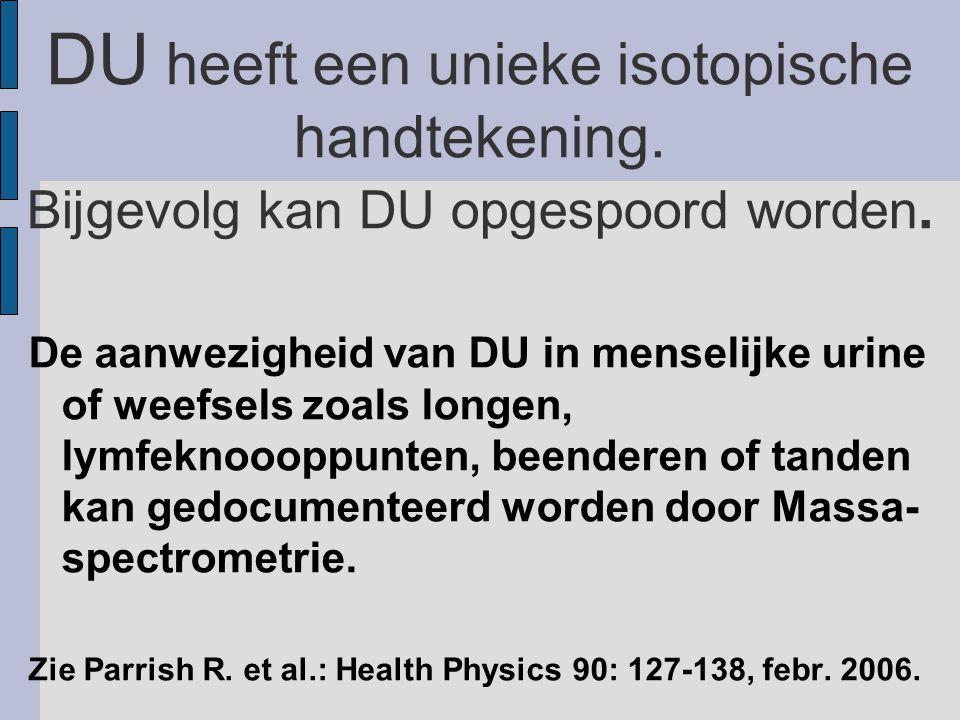 DU heeft een unieke isotopische handtekening. Bijgevolg kan DU opgespoord worden.
