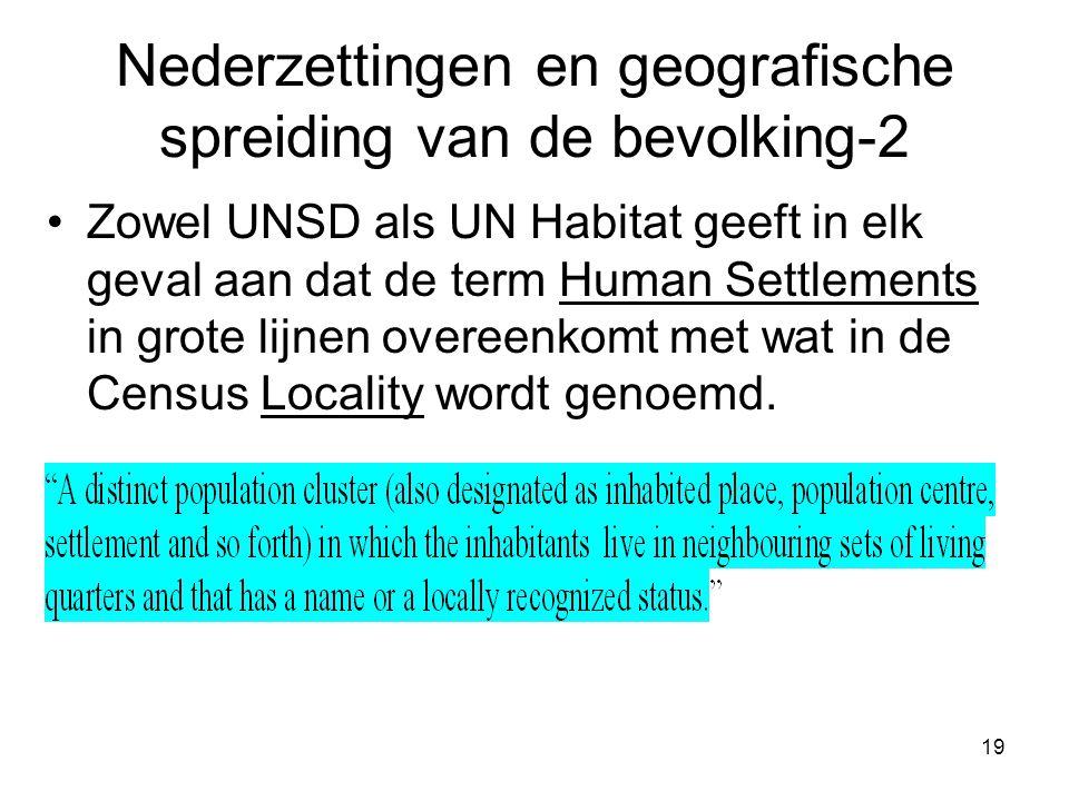 19 Nederzettingen en geografische spreiding van de bevolking-2 Zowel UNSD als UN Habitat geeft in elk geval aan dat de term Human Settlements in grote