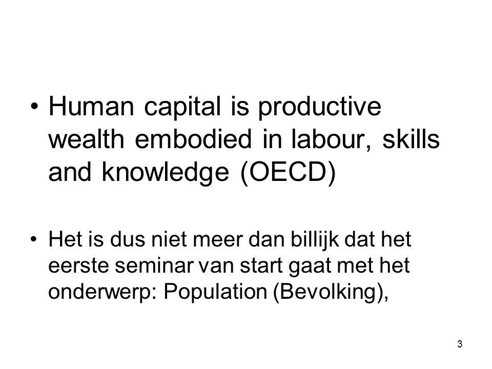 3 Human capital is productive wealth embodied in labour, skills and knowledge (OECD) Het is dus niet meer dan billijk dat het eerste seminar van start
