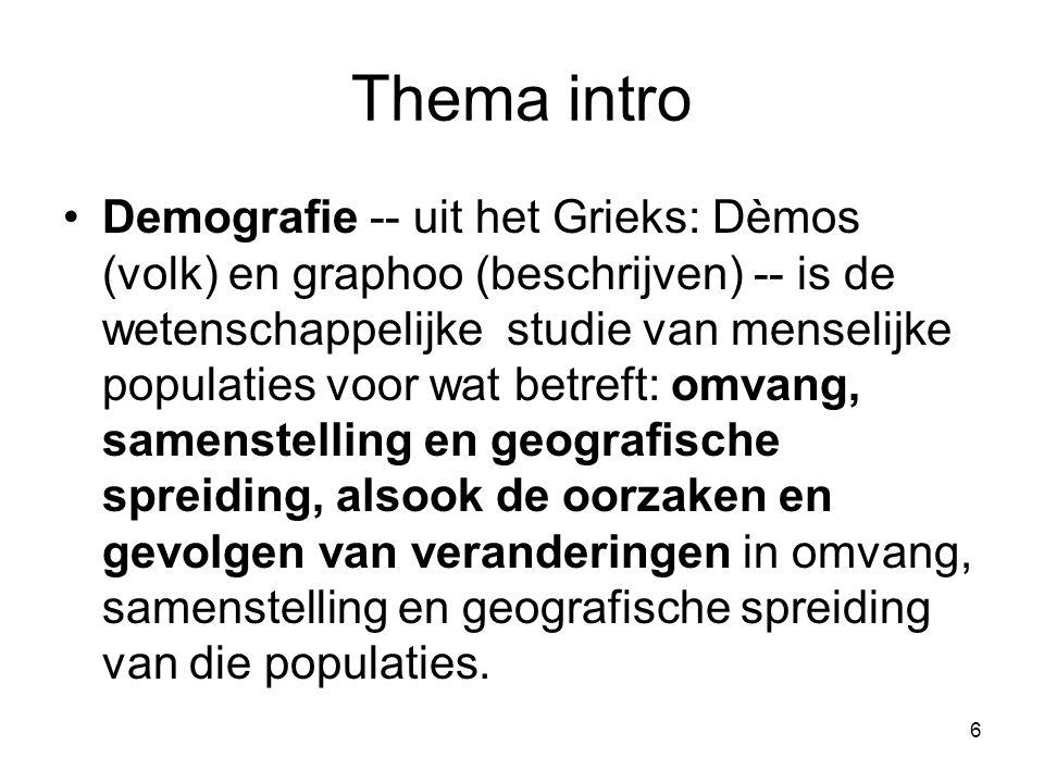 6 Thema intro Demografie -- uit het Grieks: Dèmos (volk) en graphoo (beschrijven) -- is de wetenschappelijke studie van menselijke populaties voor wat