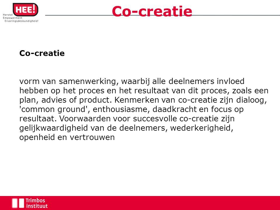 Co-creatie vorm van samenwerking, waarbij alle deelnemers invloed hebben op het proces en het resultaat van dit proces, zoals een plan, advies of product.