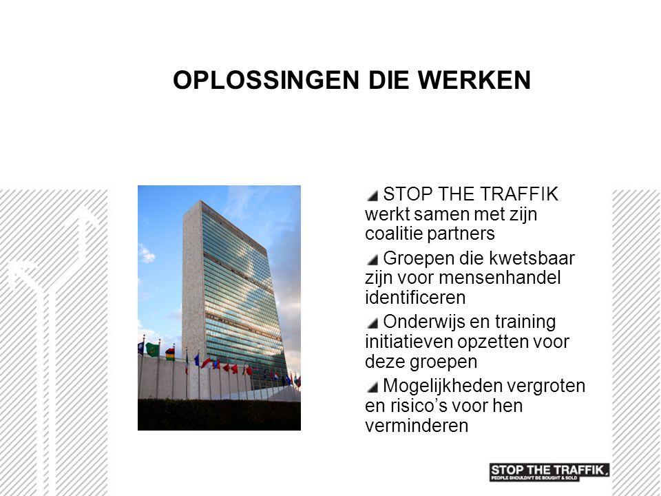 OPLOSSINGEN DIE WERKEN STOP THE TRAFFIK werkt samen met zijn coalitie partners Groepen die kwetsbaar zijn voor mensenhandel identificeren Onderwijs en