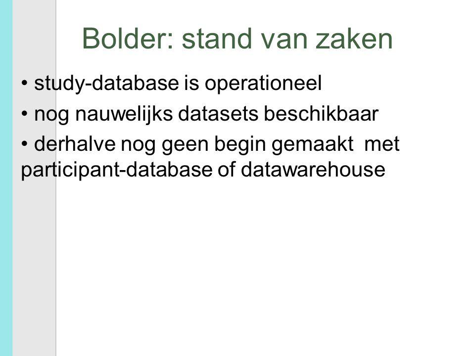 Bolder: stand van zaken study-database is operationeel nog nauwelijks datasets beschikbaar derhalve nog geen begin gemaakt met participant-database of datawarehouse