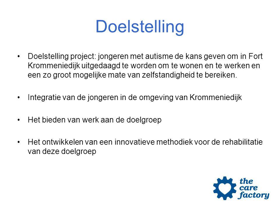 Doelstelling Doelstelling project: jongeren met autisme de kans geven om in Fort Krommeniedijk uitgedaagd te worden om te wonen en te werken en een zo