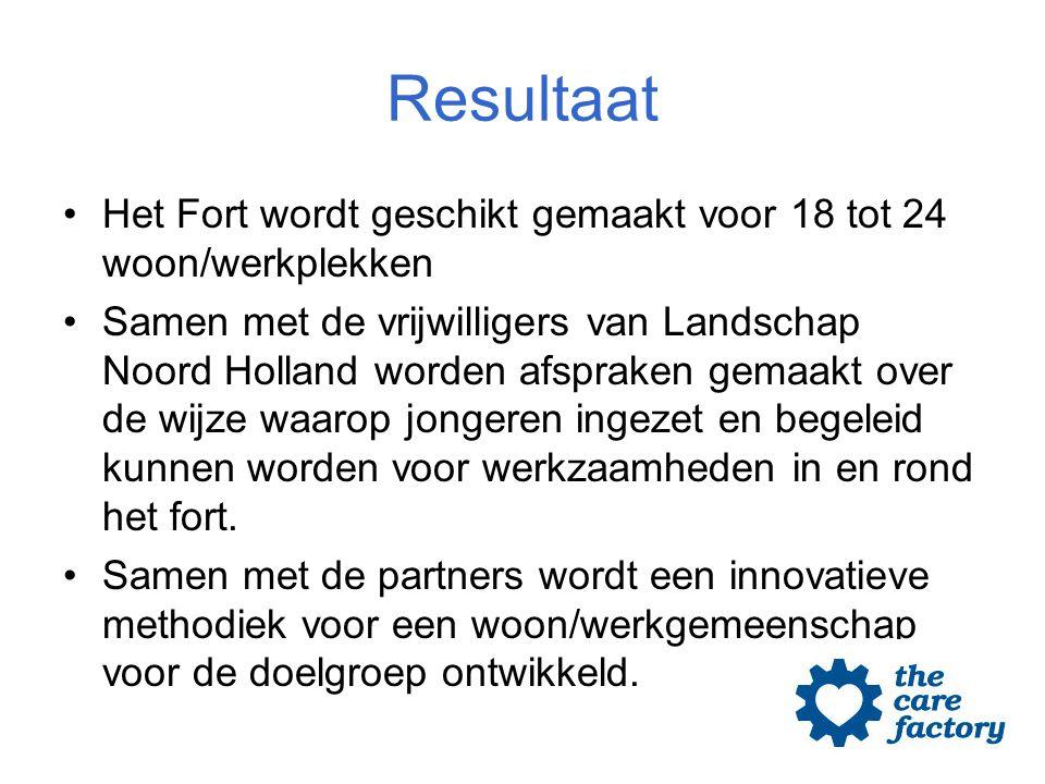 Resultaat Het Fort wordt geschikt gemaakt voor 18 tot 24 woon/werkplekken Samen met de vrijwilligers van Landschap Noord Holland worden afspraken gema