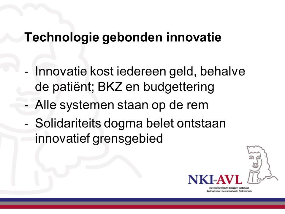 Technologie gebonden innovatie -Innovatie kost iedereen geld, behalve de patiënt; BKZ en budgettering -Alle systemen staan op de rem -Solidariteits do