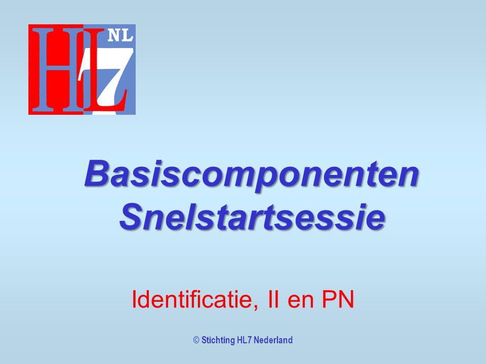 © Stichting HL7 Nederland Basiscomponenten Snelstartsessie Identificatie, II en PN