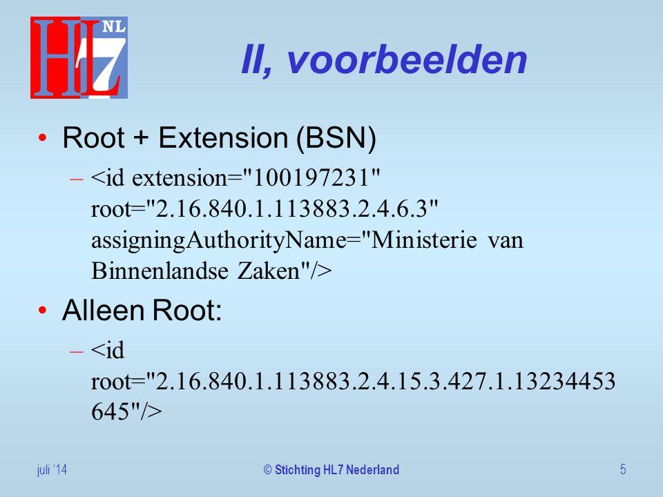 II, voorbeelden Root + Extension (BSN) – Alleen Root: – juli '145 © Stichting HL7 Nederland