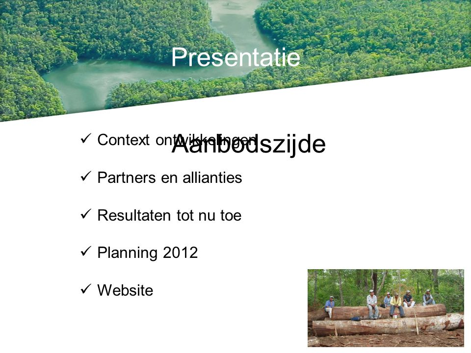 Presentatie Context ontwikkelingen Partners en allianties Resultaten tot nu toe Planning 2012 Website Aanbodszijde