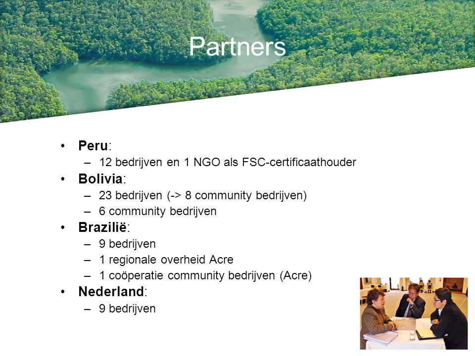 Partners Peru: –12 bedrijven en 1 NGO als FSC-certificaathouder Bolivia: –23 bedrijven (-> 8 community bedrijven) –6 community bedrijven Brazilië: –9 bedrijven –1 regionale overheid Acre –1 coöperatie community bedrijven (Acre) Nederland: –9 bedrijven