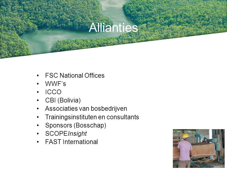 Allianties FSC National Offices WWF's ICCO CBI (Bolivia) Associaties van bosbedrijven Trainingsinstituten en consultants Sponsors (Bosschap) SCOPEInsi