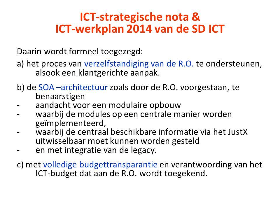 ICT-strategische nota & ICT-werkplan 2014 van de SD ICT Daarin wordt formeel toegezegd: a) het proces van verzelfstandiging van de R.O. te ondersteune