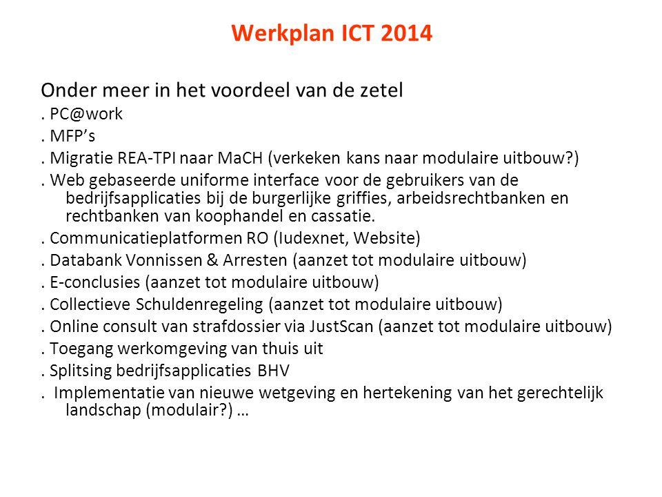 Werkplan ICT 2014 Onder meer in het voordeel van de zetel. PC@work. MFP's. Migratie REA-TPI naar MaCH (verkeken kans naar modulaire uitbouw?). Web geb