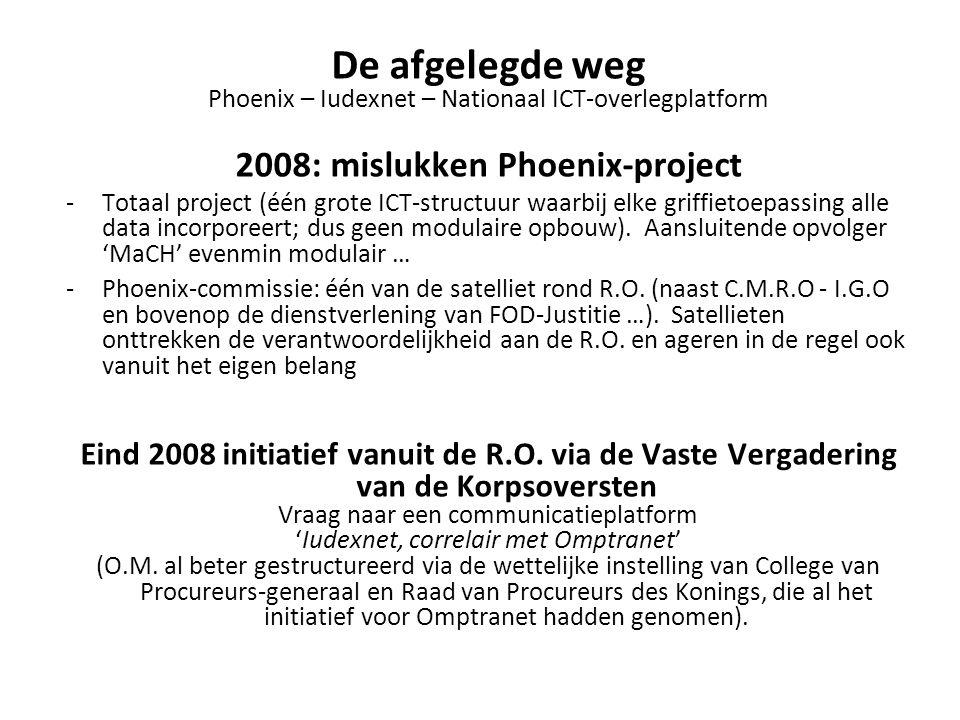 De afgelegde weg Phoenix – Iudexnet – Nationaal ICT-overlegplatform 2008: mislukken Phoenix-project -Totaal project (één grote ICT-structuur waarbij elke griffietoepassing alle data incorporeert; dus geen modulaire opbouw).
