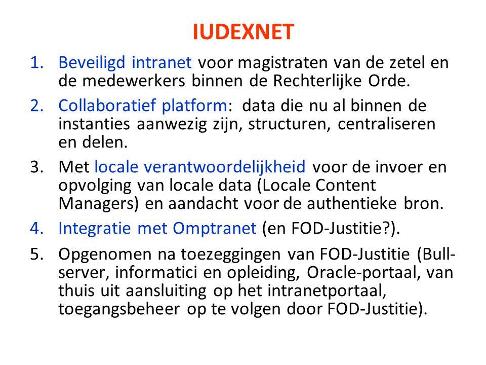 IUDEXNET 1.Beveiligd intranet voor magistraten van de zetel en de medewerkers binnen de Rechterlijke Orde. 2.Collaboratief platform: data die nu al bi
