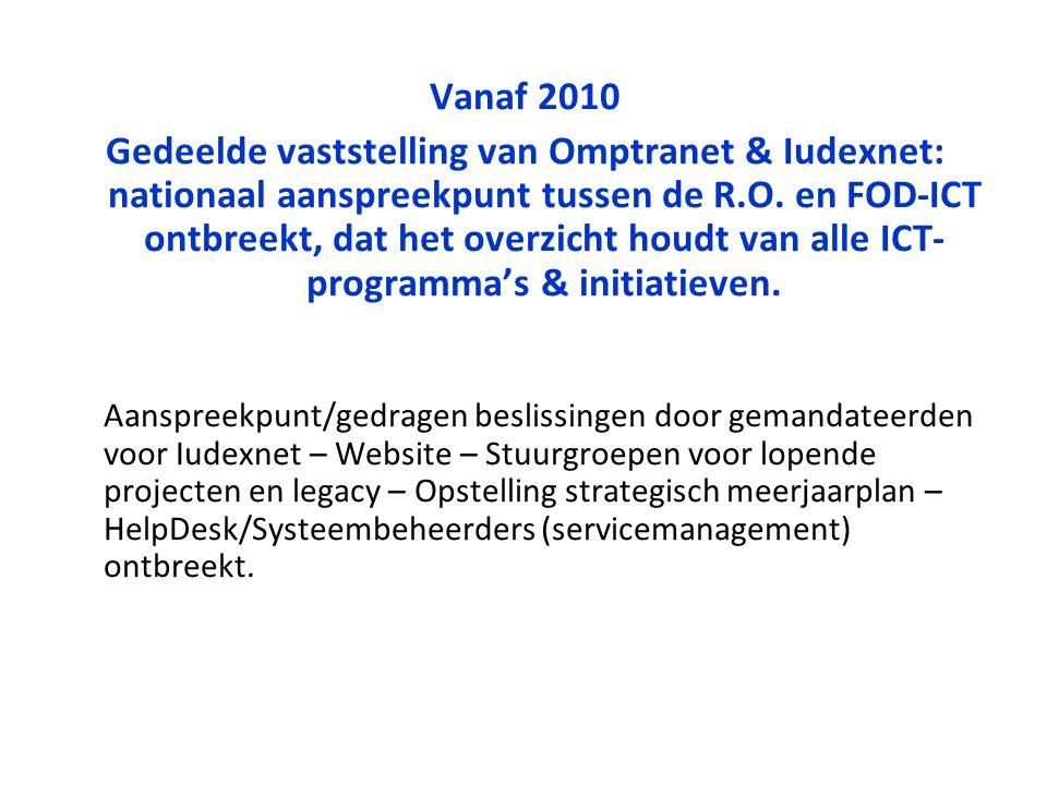 Vanaf 2010 Gedeelde vaststelling van Omptranet & Iudexnet: nationaal aanspreekpunt tussen de R.O. en FOD-ICT ontbreekt, dat het overzicht houdt van al