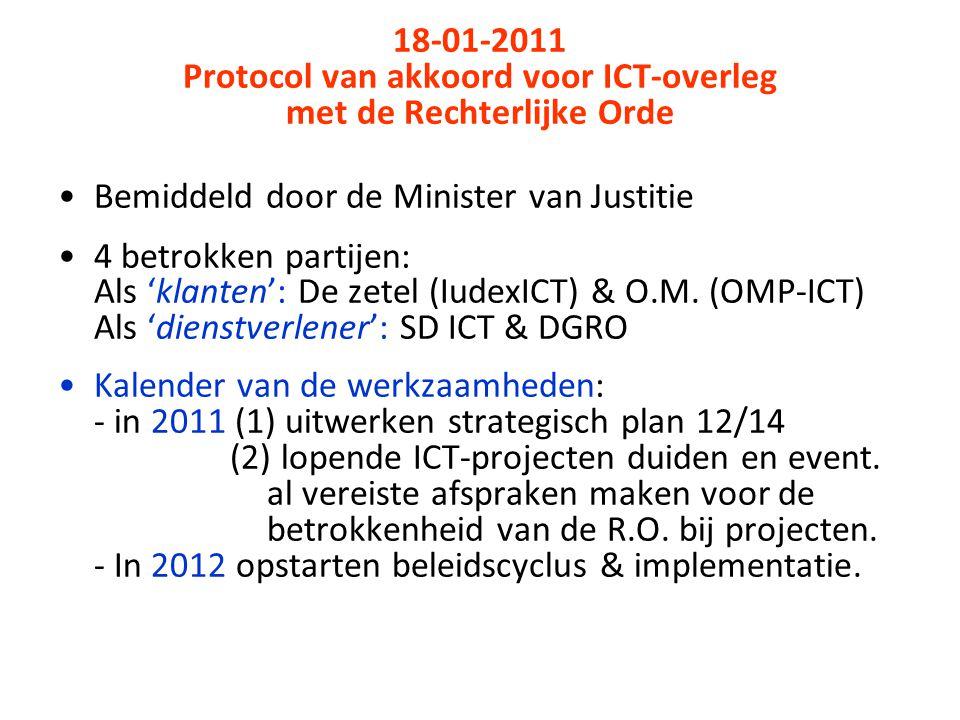18-01-2011 Protocol van akkoord voor ICT-overleg met de Rechterlijke Orde Bemiddeld door de Minister van Justitie 4 betrokken partijen: Als 'klanten': De zetel (IudexICT) & O.M.
