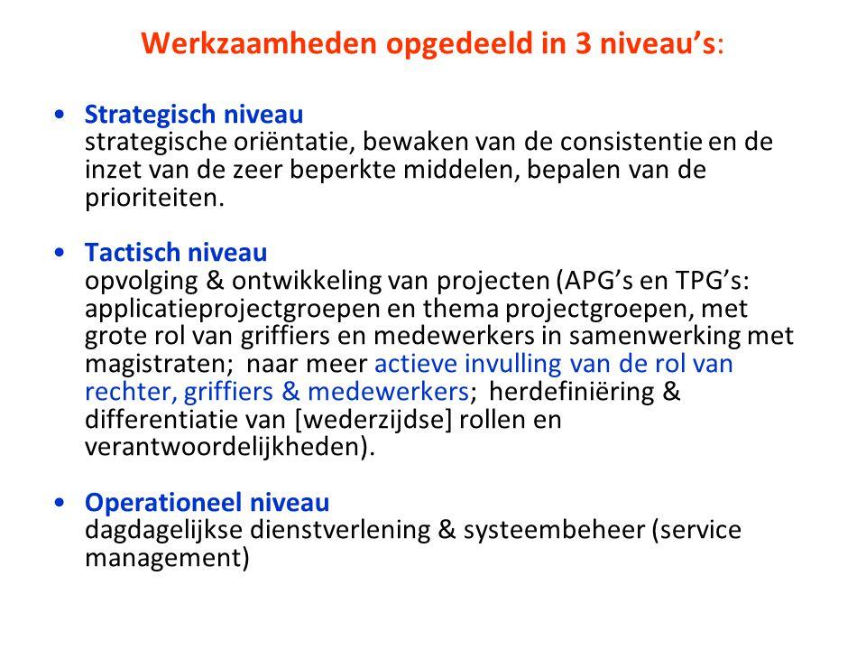 Werkzaamheden opgedeeld in 3 niveau's: Strategisch niveau strategische oriëntatie, bewaken van de consistentie en de inzet van de zeer beperkte middelen, bepalen van de prioriteiten.