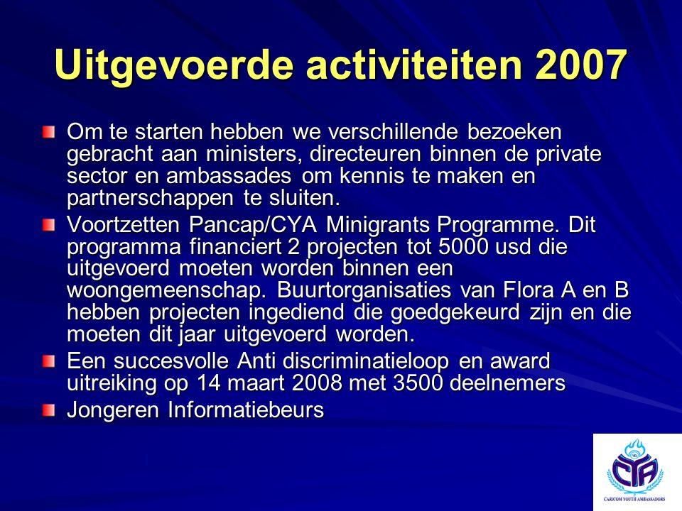 Uitgevoerde activiteiten 2007 Om te starten hebben we verschillende bezoeken gebracht aan ministers, directeuren binnen de private sector en ambassade