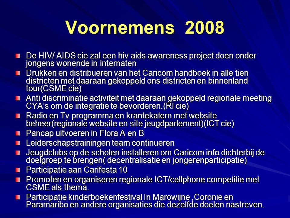 Voornemens 2008 De HIV/ AIDS cie zal een hiv aids awareness project doen onder jongens wonende in internaten Drukken en distribueren van het Caricom h