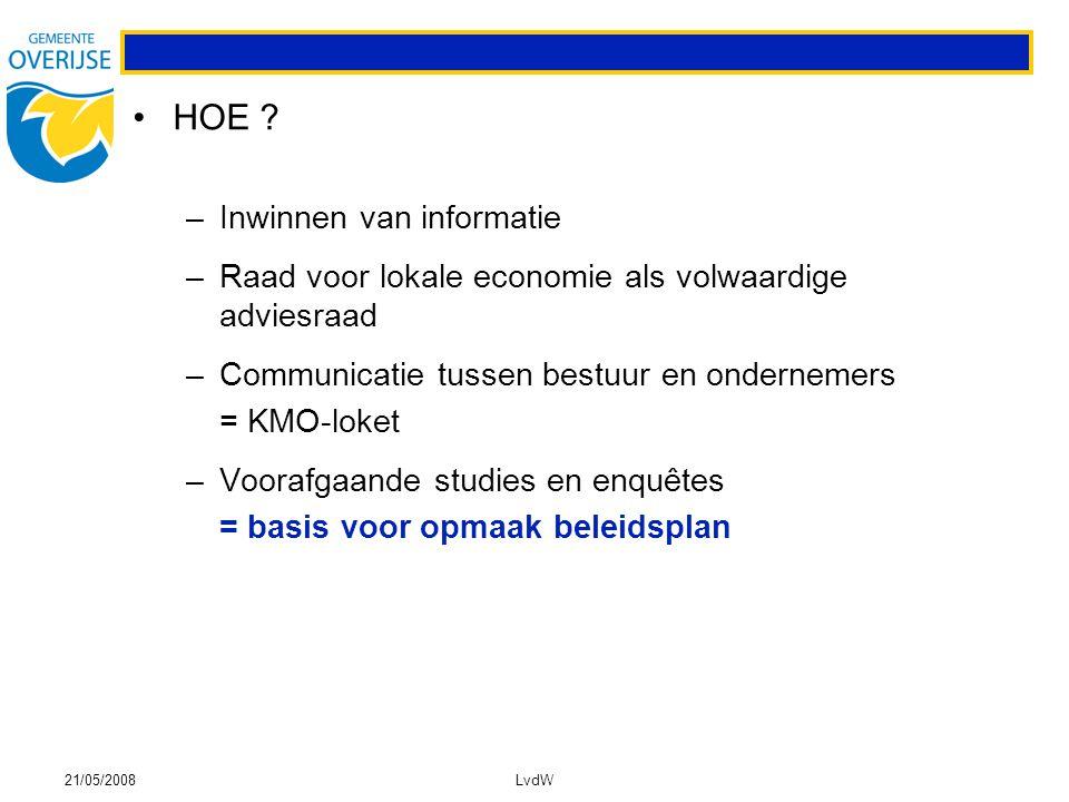 21/05/2008LvdW HOE ? –Inwinnen van informatie –Raad voor lokale economie als volwaardige adviesraad –Communicatie tussen bestuur en ondernemers = KMO-