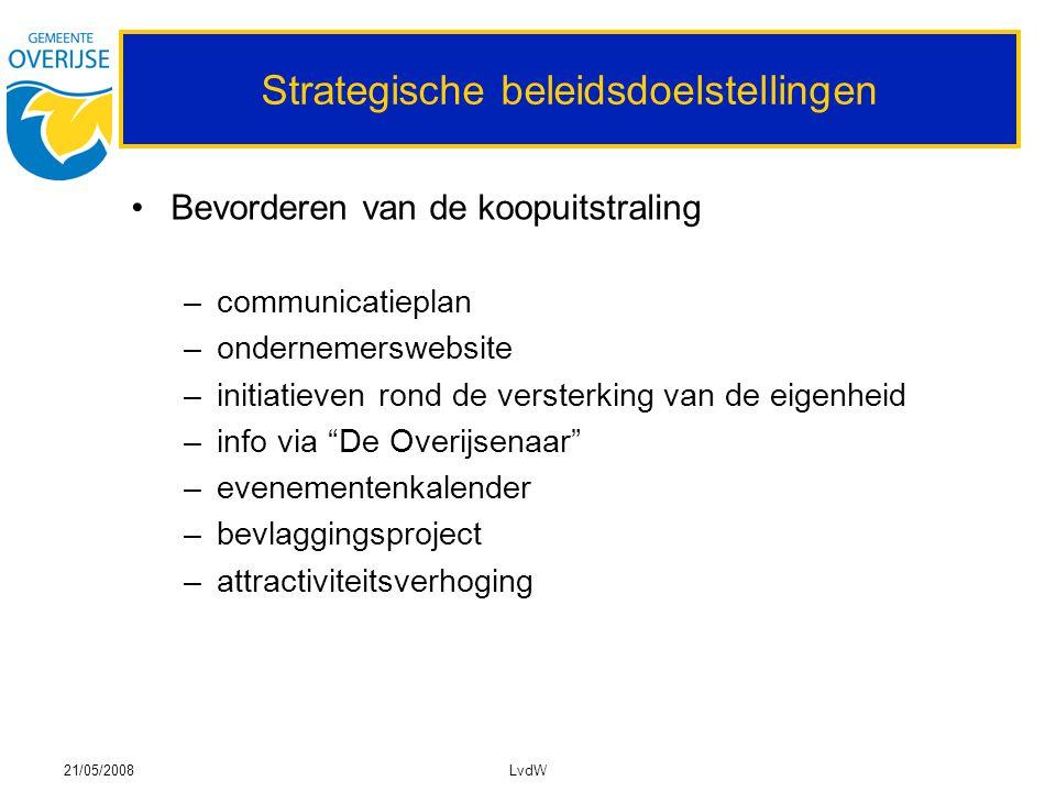 21/05/2008LvdW Strategische beleidsdoelstellingen Bevorderen van de koopuitstraling –communicatieplan –ondernemerswebsite –initiatieven rond de verste