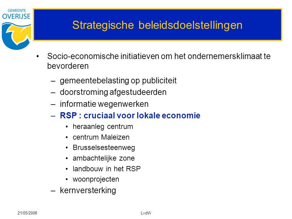 21/05/2008LvdW Strategische beleidsdoelstellingen Socio-economische initiatieven om het ondernemersklimaat te bevorderen –gemeentebelasting op publici