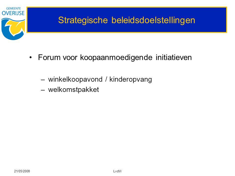 21/05/2008LvdW Strategische beleidsdoelstellingen Forum voor koopaanmoedigende initiatieven –winkelkoopavond / kinderopvang –welkomstpakket