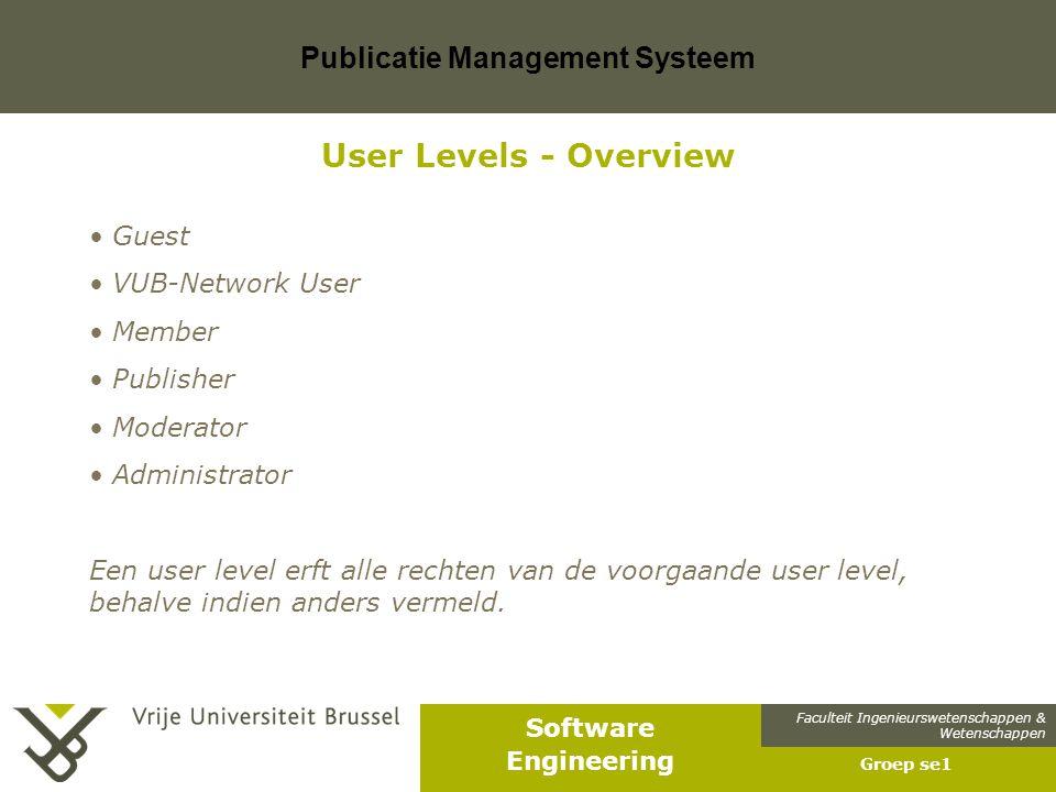 Faculteit Ingenieurswetenschappen & Wetenschappen Software Engineering Publicatie Management Systeem Groep se1 User Levels - Guest Een guest is een persoon die niet is ingelogd en niet verbonden is met het VUB-netwerk.