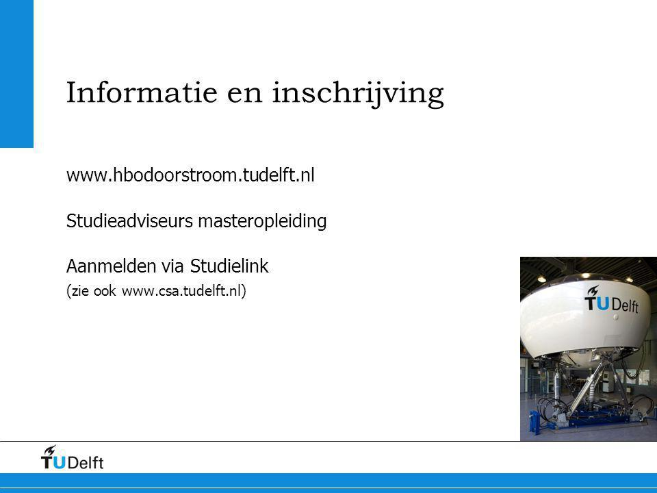 Informatie en inschrijving www.hbodoorstroom.tudelft.nl Studieadviseurs masteropleiding Aanmelden via Studielink (zie ook www.csa.tudelft.nl)