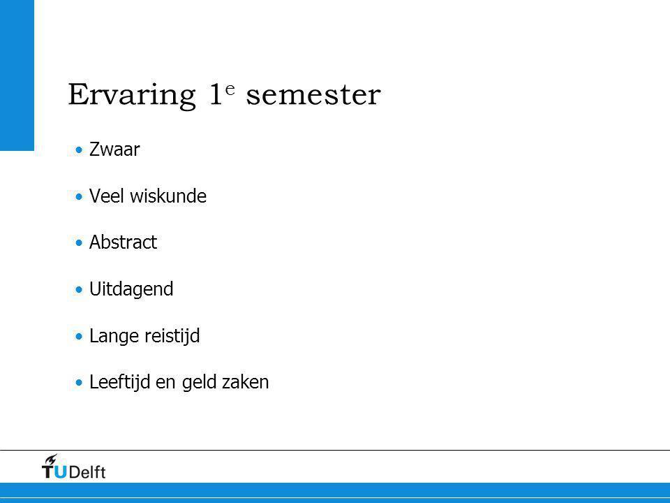 Ervaring 1 e semester Zwaar Veel wiskunde Abstract Uitdagend Lange reistijd Leeftijd en geld zaken