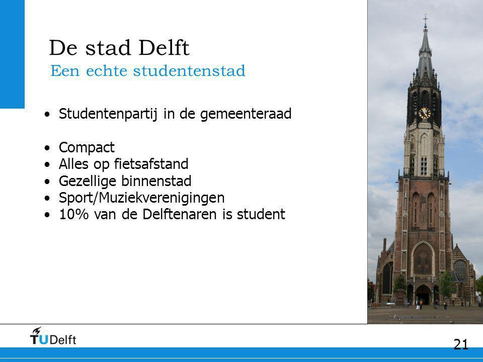 21 De stad Delft Een echte studentenstad Studentenpartij in de gemeenteraad Compact Alles op fietsafstand Gezellige binnenstad Sport/Muziekvereniginge