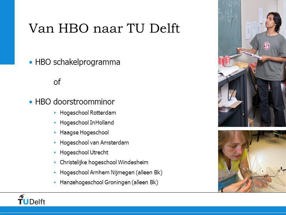 Van HBO naar TU Delft HBO schakelprogramma of HBO doorstroomminor Hogeschool Rotterdam Hogeschool InHolland Haagse Hogeschool Hogeschool van Amsterdam
