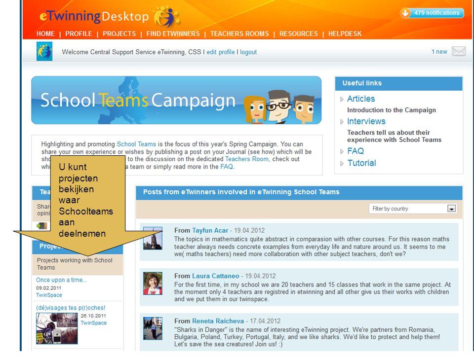 U kunt projecten bekijken waar Schoolteams aan deelnemen