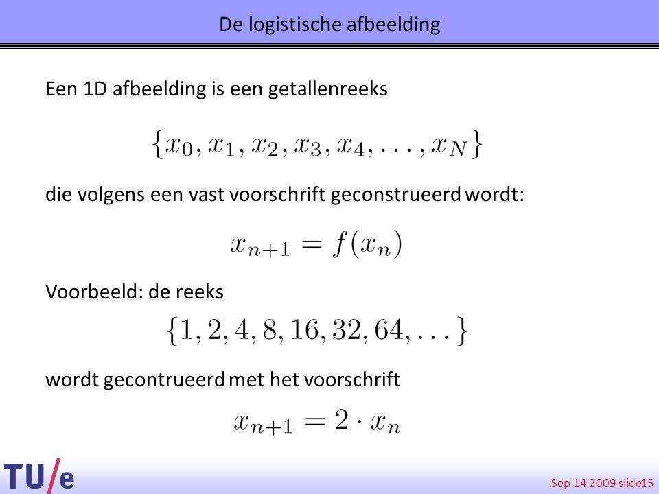 Sep 14 2009 slide De logistische afbeelding 15 Een 1D afbeelding is een getallenreeks die volgens een vast voorschrift geconstrueerd wordt: Voorbeeld: