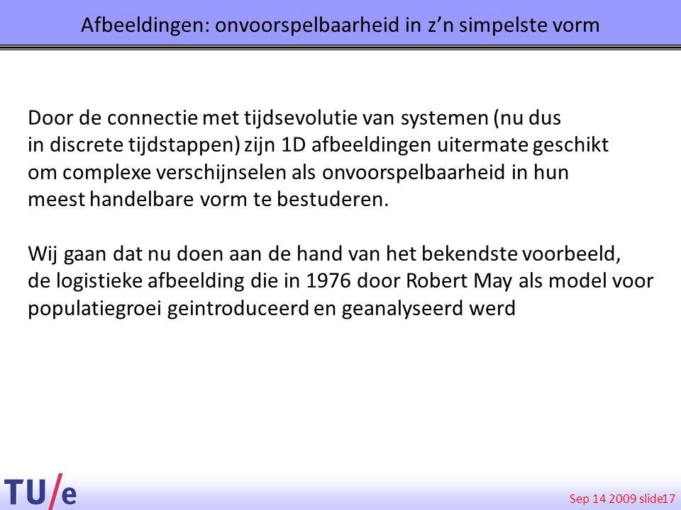 Sep 14 2009 slide Afbeeldingen: onvoorspelbaarheid in z'n simpelste vorm 17 Door de connectie met tijdsevolutie van systemen (nu dus in discrete tijds