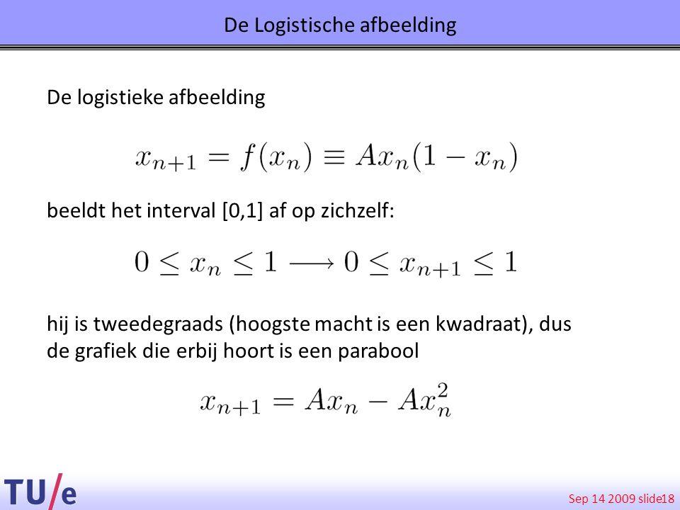 Sep 14 2009 slide De Logistische afbeelding 18 De logistieke afbeelding beeldt het interval [0,1] af op zichzelf: hij is tweedegraads (hoogste macht i