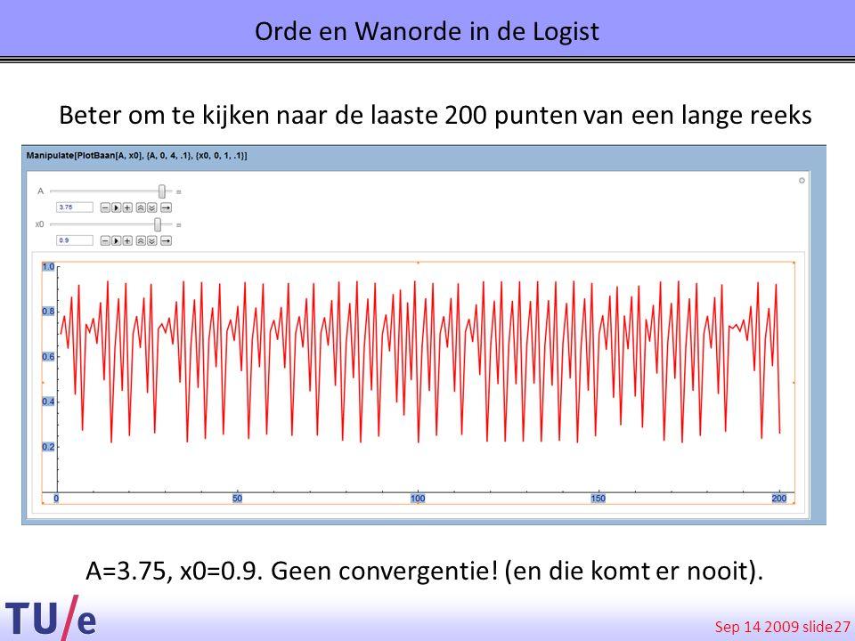 Sep 14 2009 slide 27 A=3.75, x0=0.9. Geen convergentie! (en die komt er nooit). Orde en Wanorde in de Logist Beter om te kijken naar de laaste 200 pun