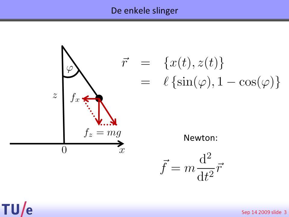 Sep 14 2009 slide Conclusies dubbele slinger 14 Chaos is niet de grillige beweging, maar de afhankelijkheid van begincondities.