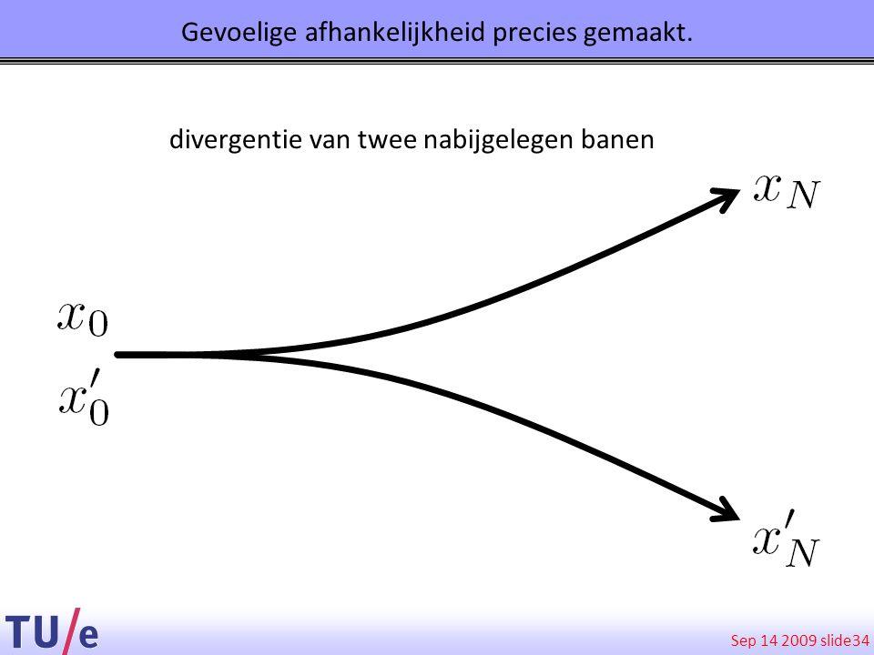 Sep 14 2009 slide 34 Gevoelige afhankelijkheid precies gemaakt. divergentie van twee nabijgelegen banen