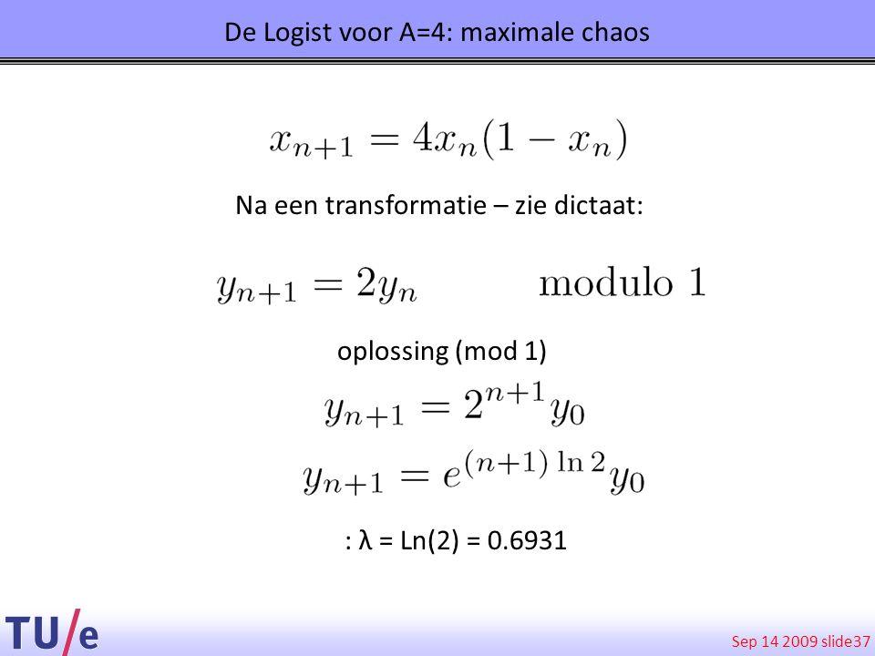 Sep 14 2009 slide 37 De Logist voor A=4: maximale chaos Na een transformatie – zie dictaat: oplossing (mod 1) : λ = Ln(2) = 0.6931