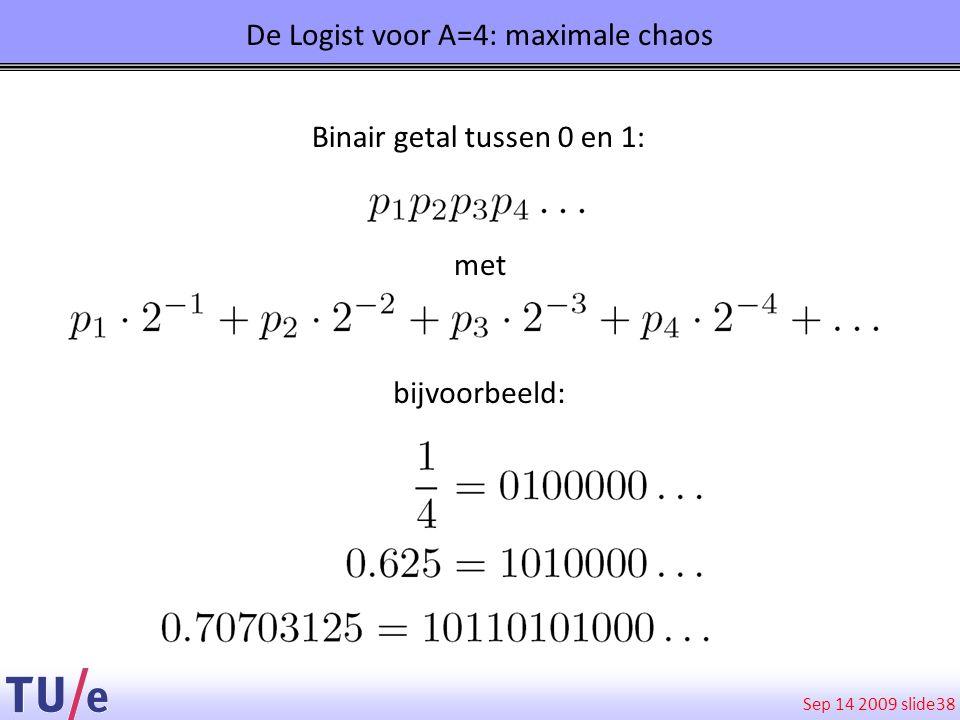 Sep 14 2009 slide 38 De Logist voor A=4: maximale chaos Binair getal tussen 0 en 1: met bijvoorbeeld: